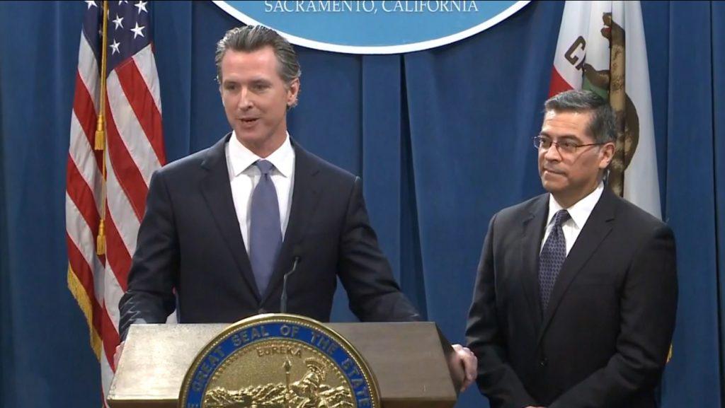 Gov Newsom and Attorney General Xavier Becerra